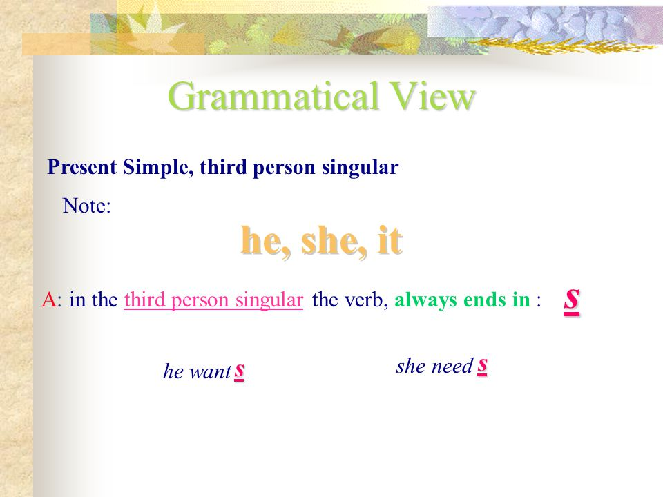 Grammatical View he, she, it s s s