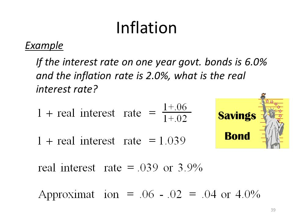Inflation Example. If the interest rate on one year govt. bonds is 6.0% and the inflation rate is 2.0%, what is the real interest rate