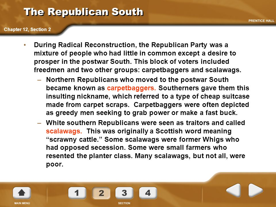 The Republican South Chapter 12, Section 2.