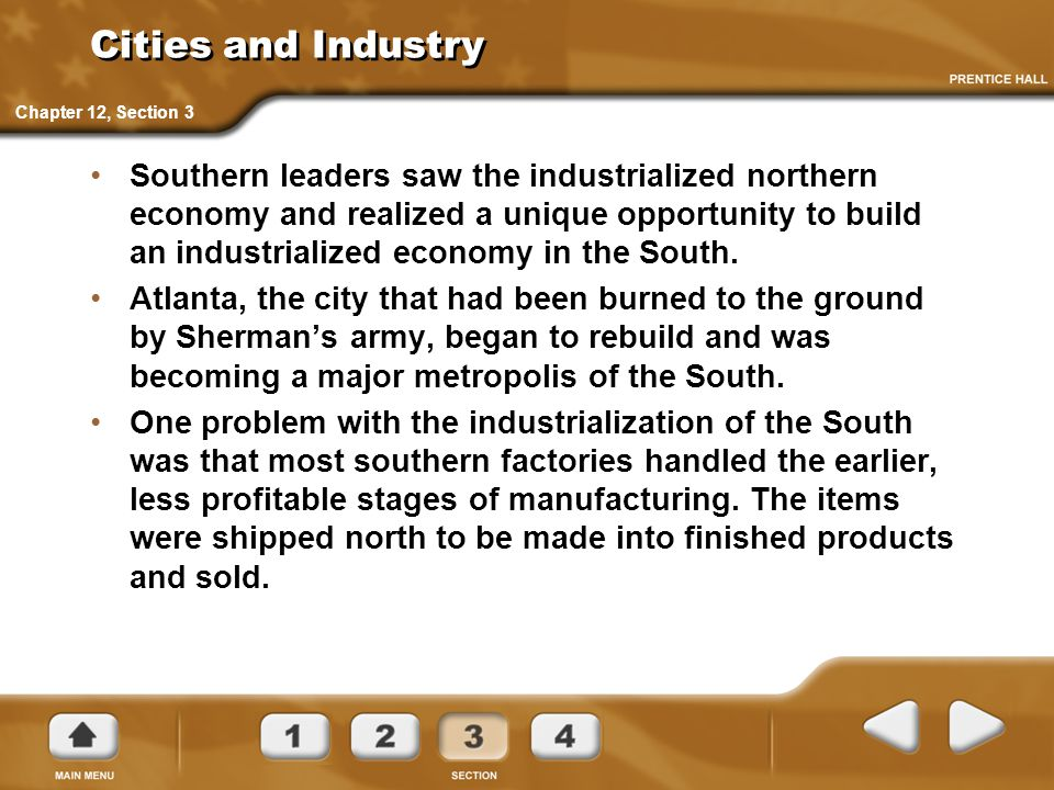 Cities and Industry Chapter 12, Section 3.