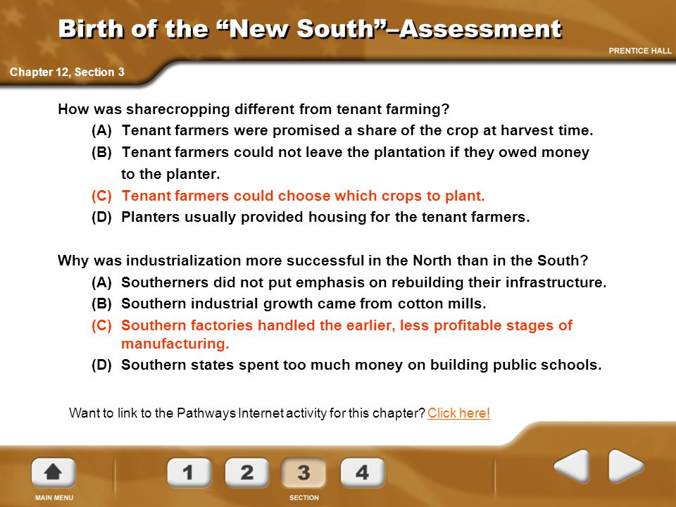 Birth of the New South –Assessment