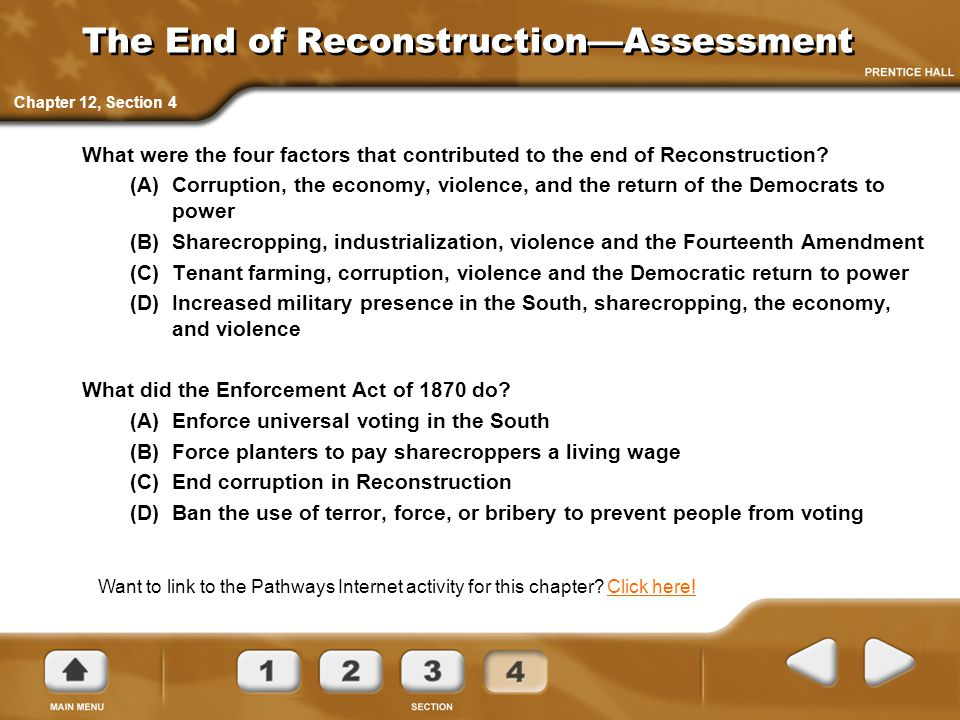The End of Reconstruction—Assessment