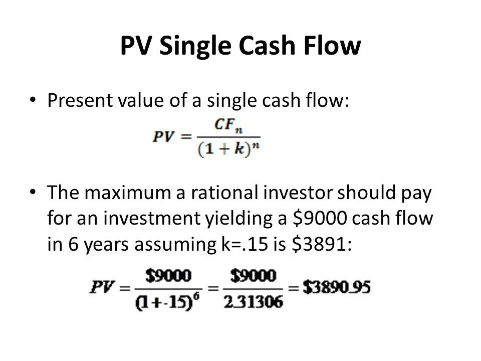 PV Single Cash Flow Present value of a single cash flow: