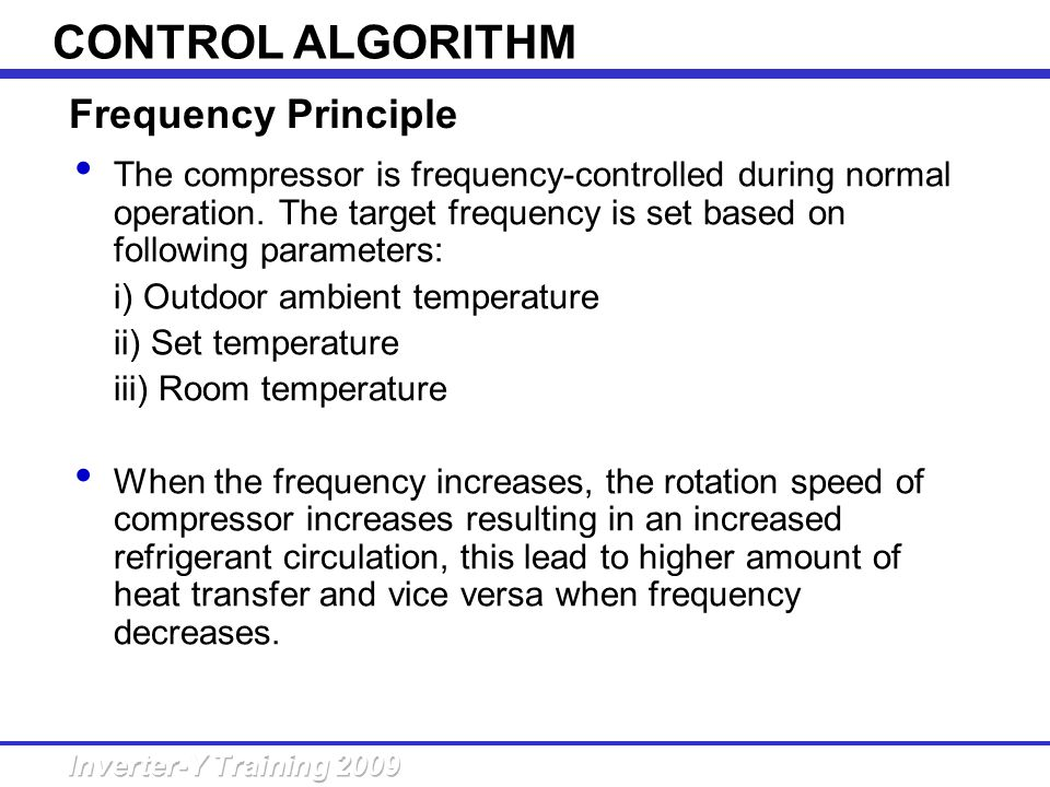 CONTROL ALGORITHM Frequency Principle