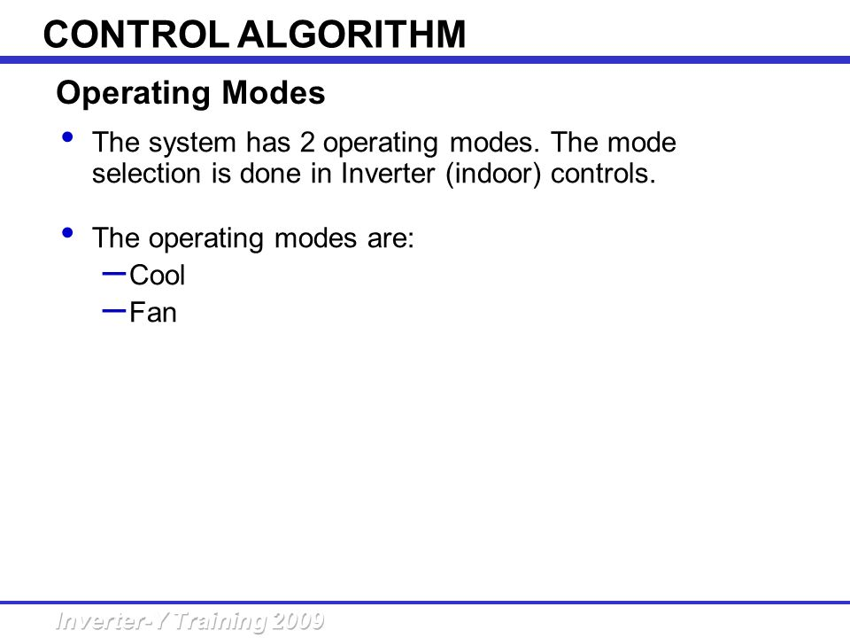 CONTROL ALGORITHM Operating Modes