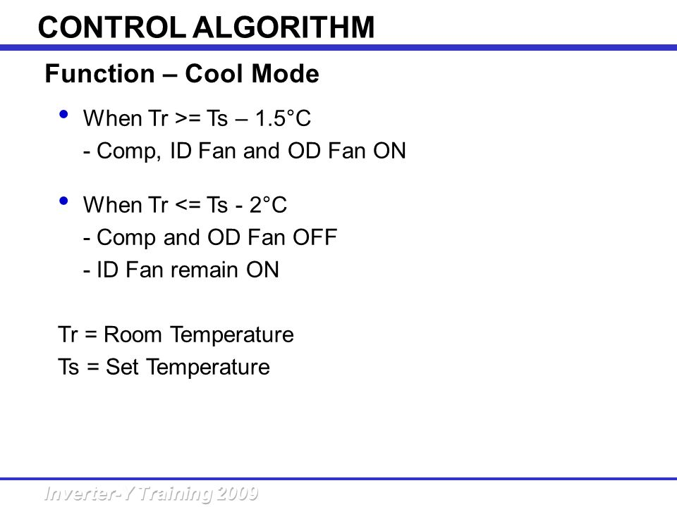 CONTROL ALGORITHM Function – Cool Mode When Tr >= Ts – 1.5°C