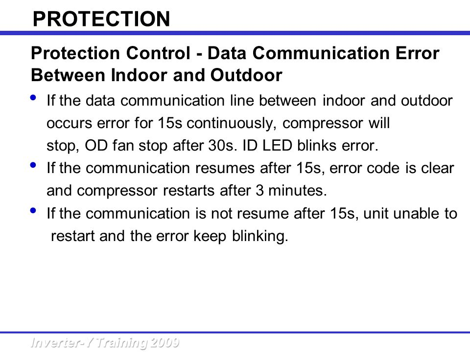 PROTECTION Protection Control - Data Communication Error