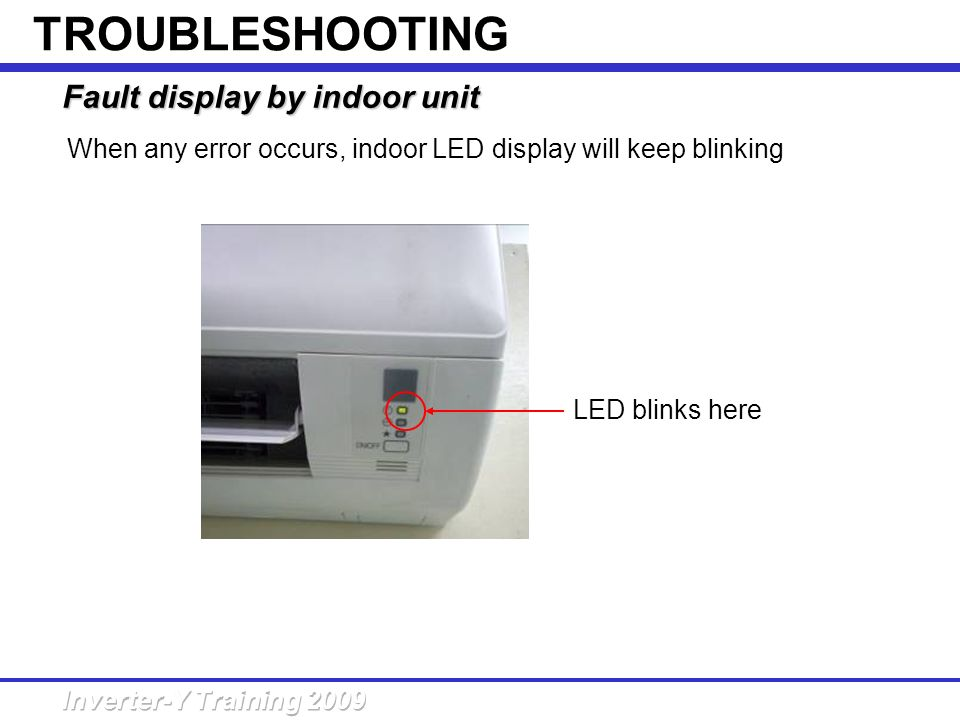 TROUBLESHOOTING Fault display by indoor unit