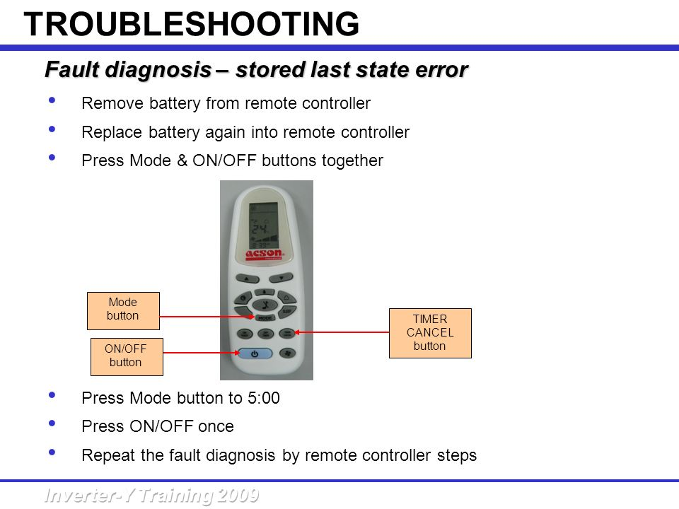 TROUBLESHOOTING Fault diagnosis – stored last state error