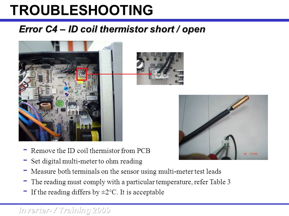 TROUBLESHOOTING Error C4 – ID coil thermistor short / open