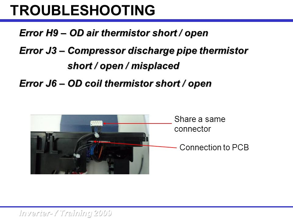 TROUBLESHOOTING Error H9 – OD air thermistor short / open