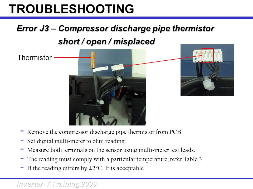 TROUBLESHOOTING Error J3 – Compressor discharge pipe thermistor short / open / misplaced.