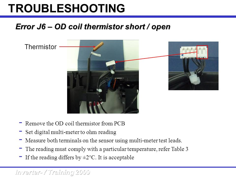 TROUBLESHOOTING Error J6 – OD coil thermistor short / open Thermistor