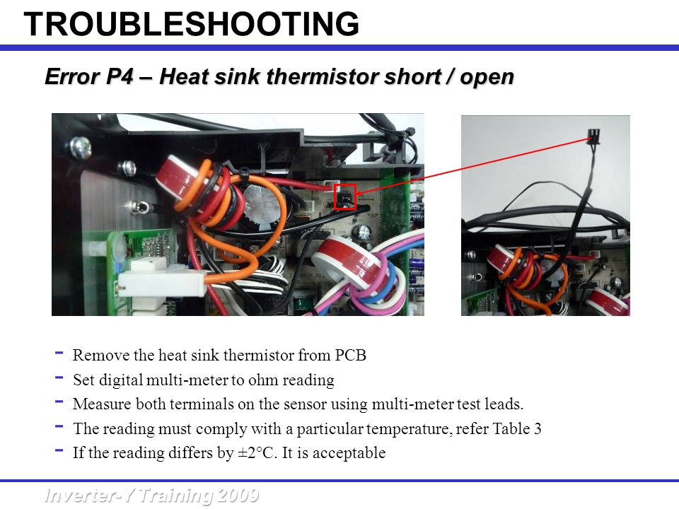 TROUBLESHOOTING Error P4 – Heat sink thermistor short / open
