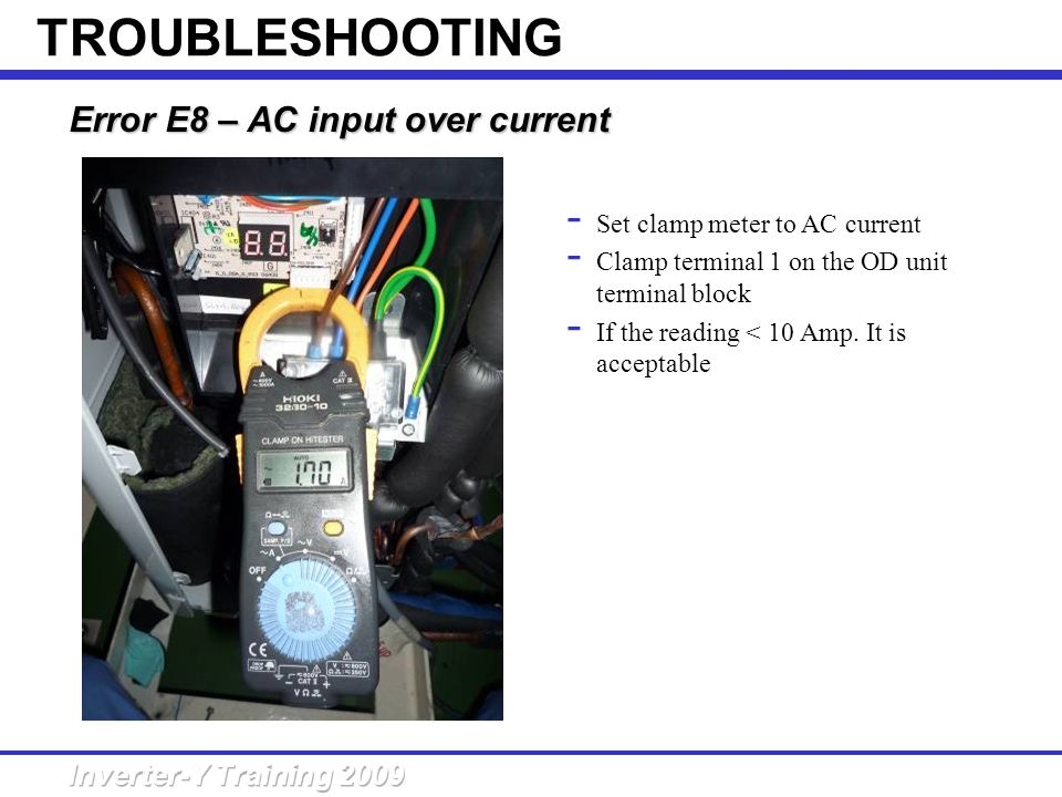 TROUBLESHOOTING Error E8 – AC input over current