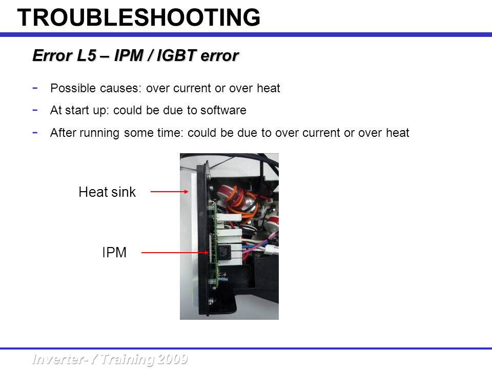 TROUBLESHOOTING Error L5 – IPM / IGBT error Heat sink IPM