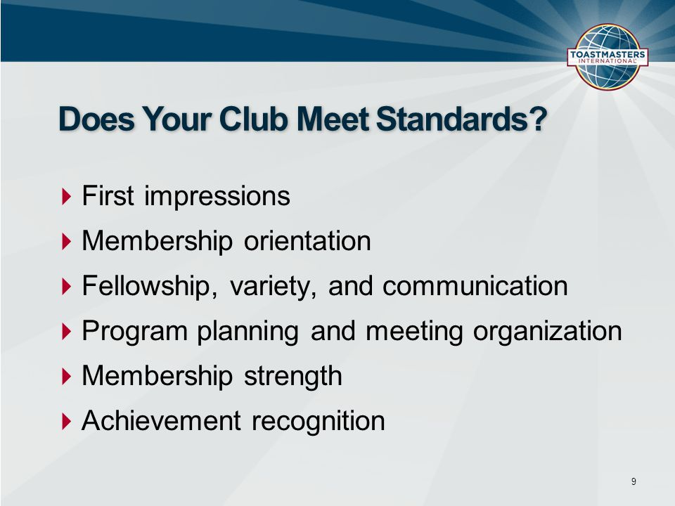 Does Your Club Meet Standards
