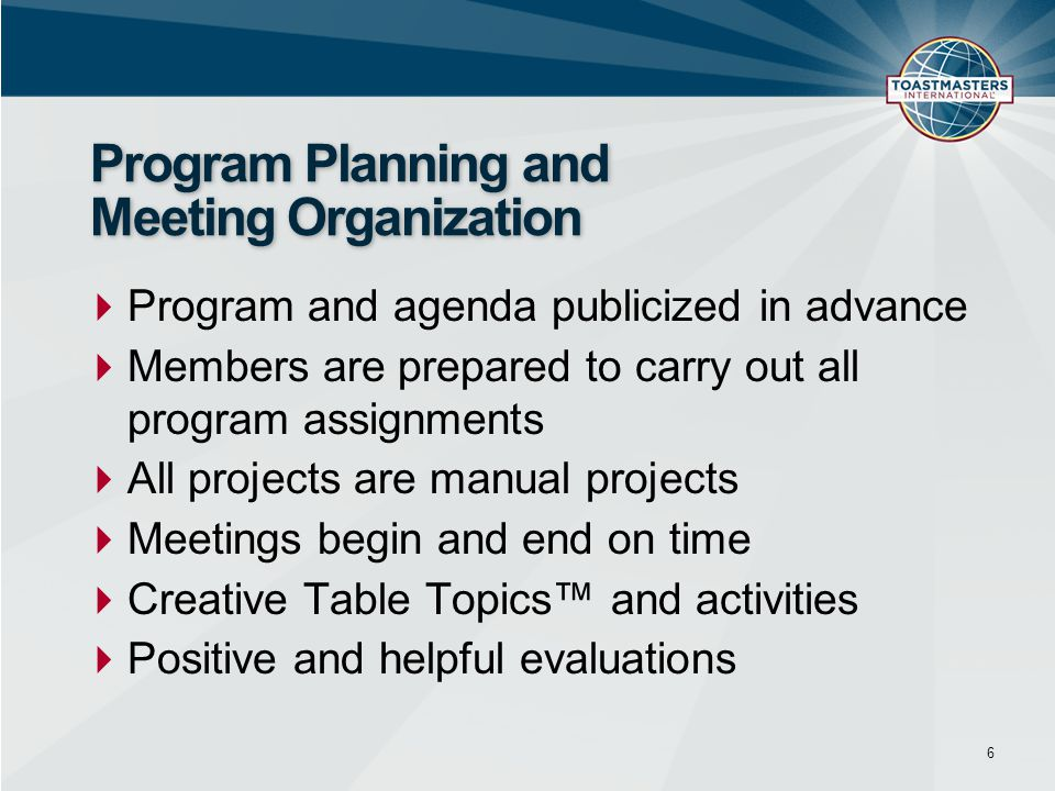 Program Planning and Meeting Organization