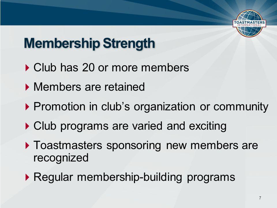 Membership Strength Club has 20 or more members Members are retained