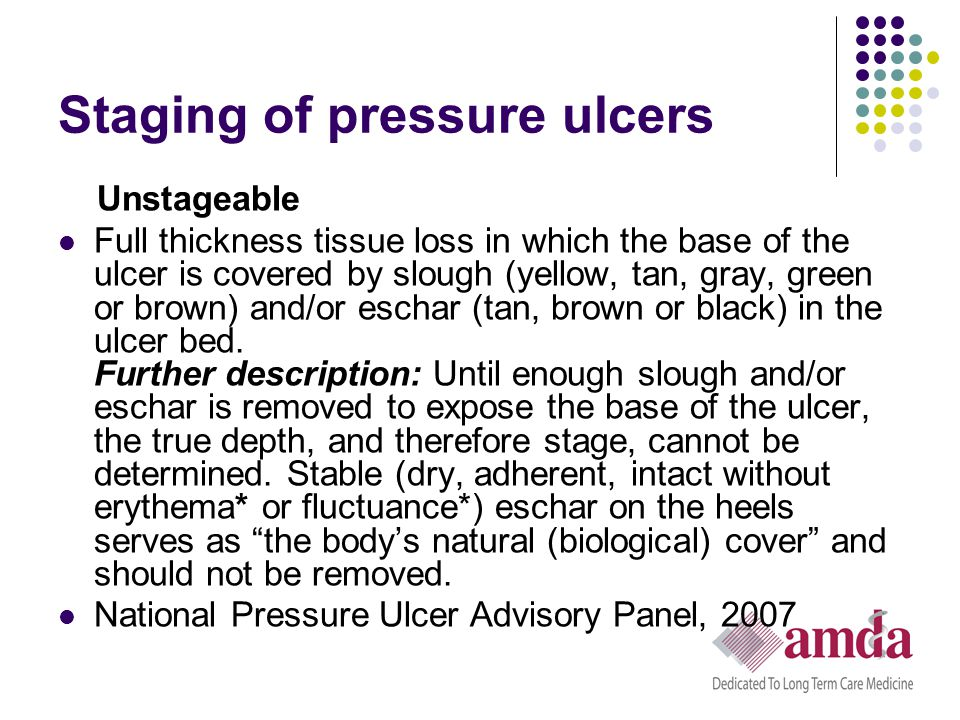 Staging of pressure ulcers