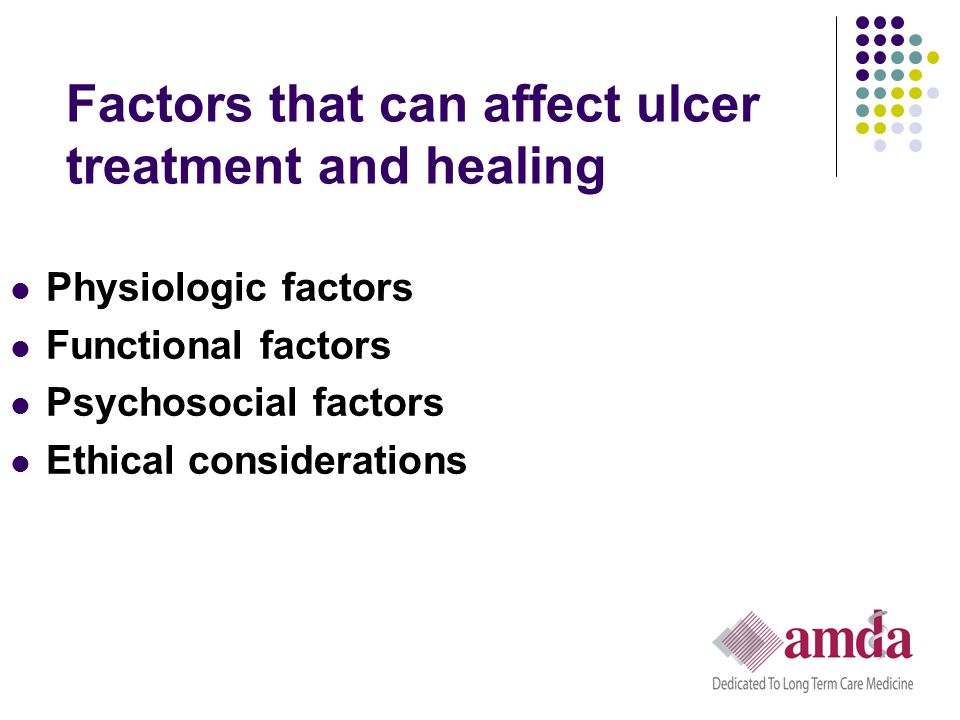 Factors that can affect ulcer treatment and healing