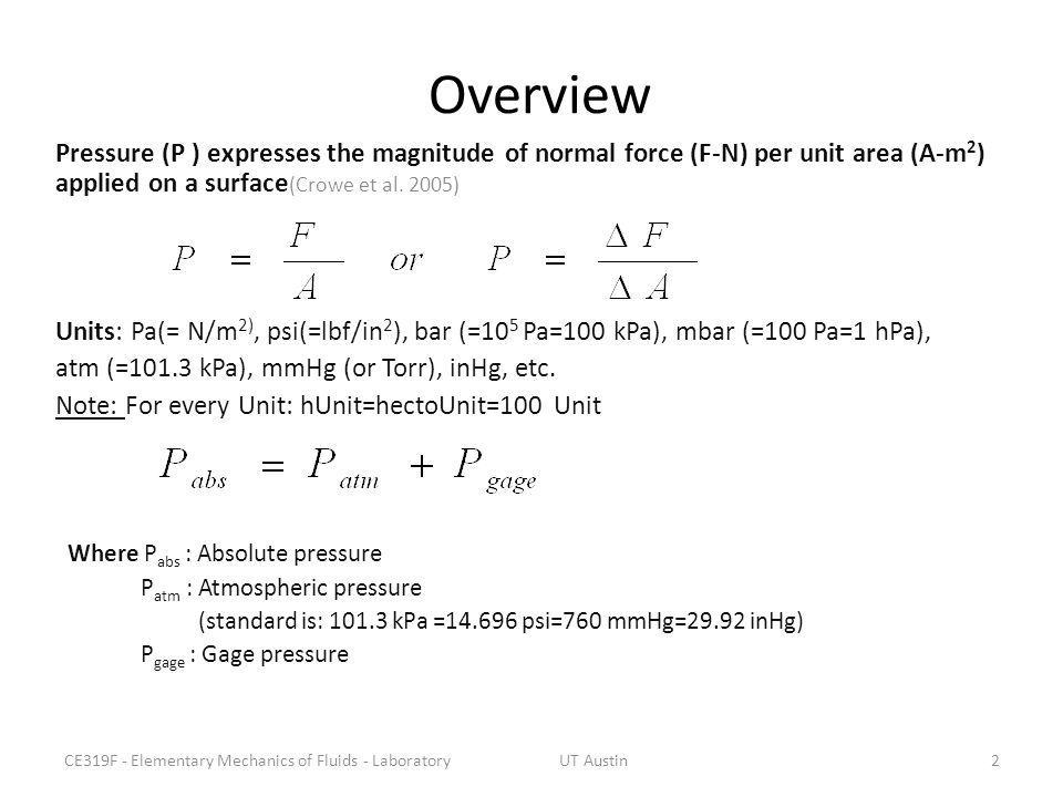Overview Pressure (P ) expresses the magnitude of normal force (F-N) per unit area (A-m2) applied on a surface(Crowe et al. 2005)