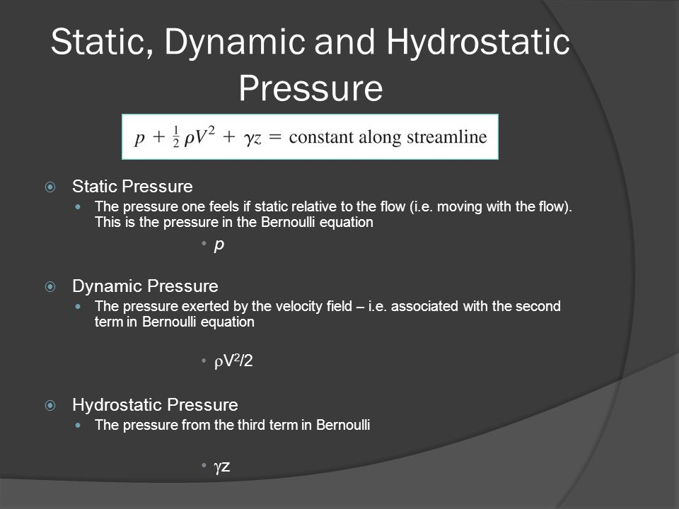 Static, Dynamic and Hydrostatic Pressure