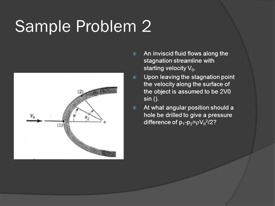 Sample Problem 2 An inviscid fluid flows along the stagnation streamline with starting velocity V0.