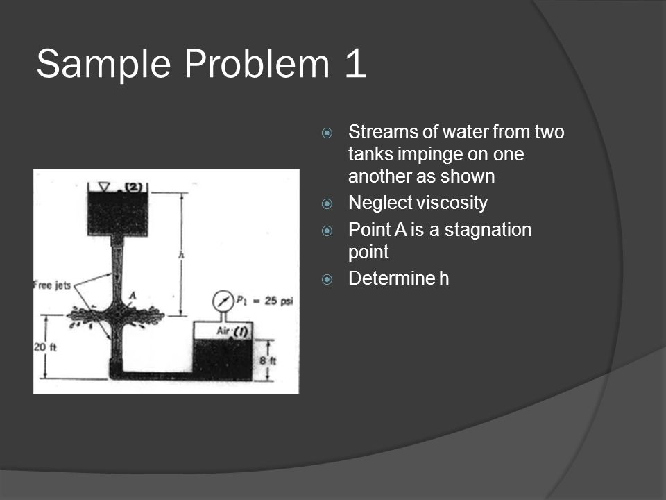 Sample Problem 1 Streams of water from two tanks impinge on one another as shown. Neglect viscosity.
