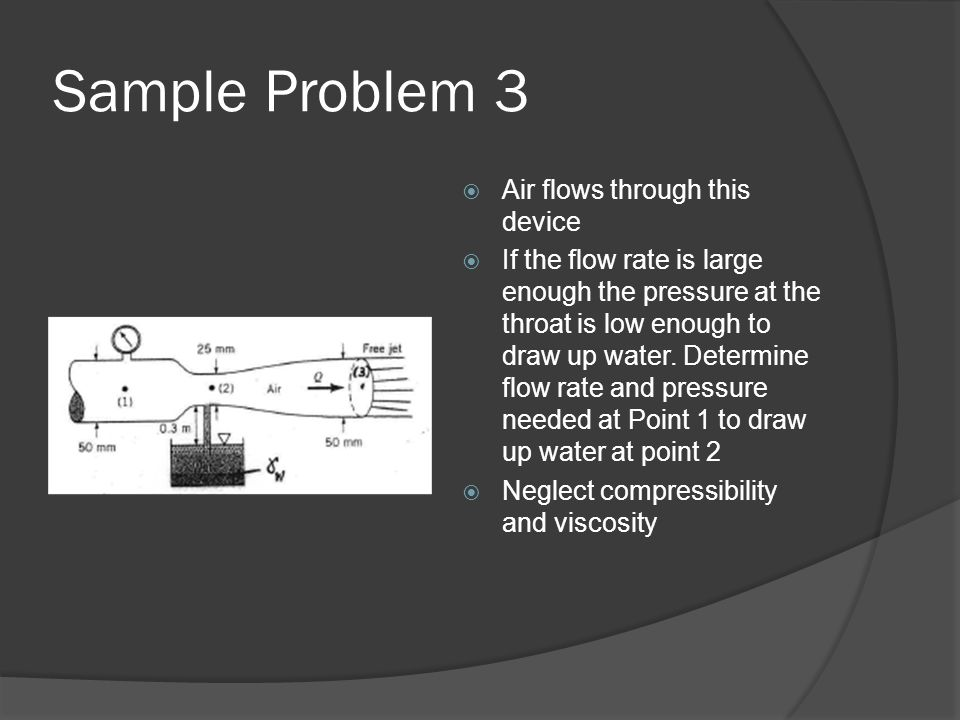 Sample Problem 3 Air flows through this device