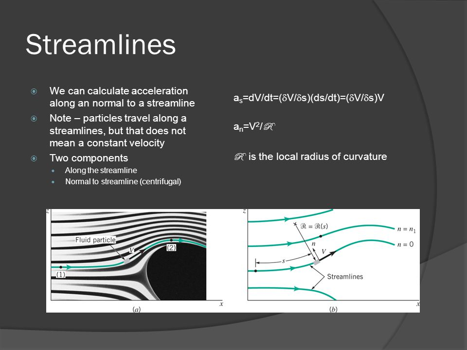 Streamlines We can calculate acceleration along an normal to a streamline.