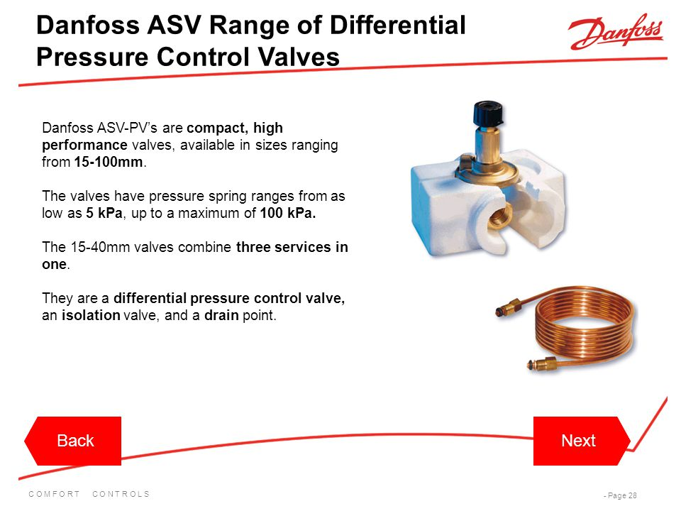 Danfoss ASV Range of Differential Pressure Control Valves