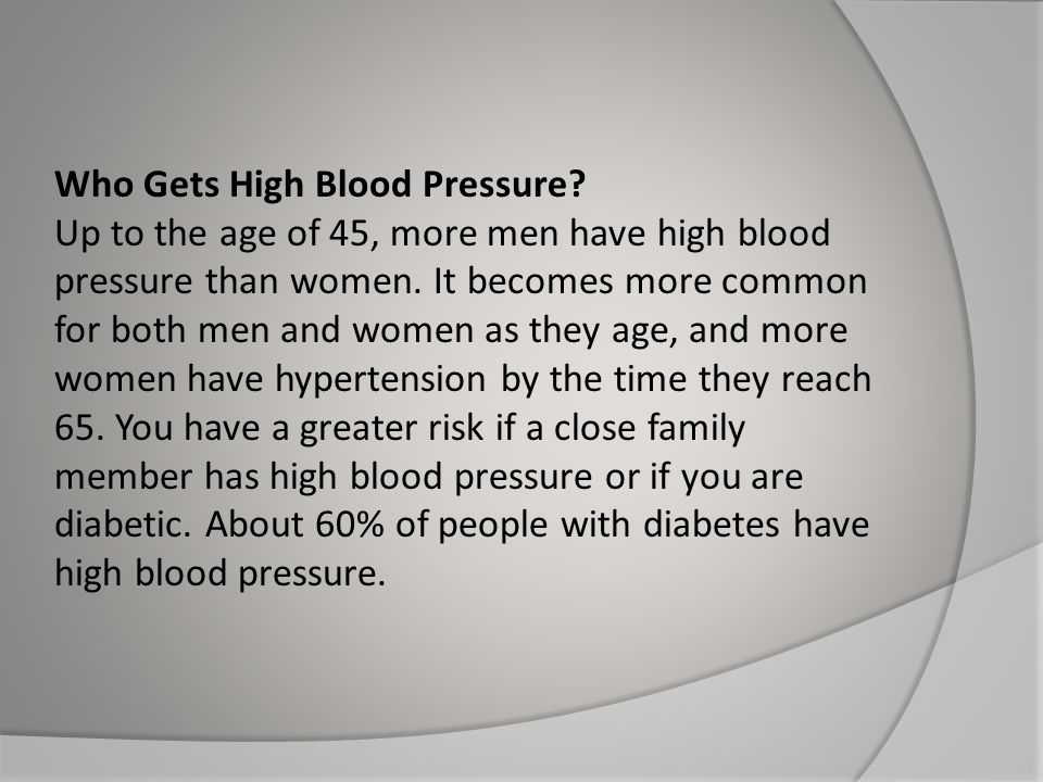 Who Gets High Blood Pressure