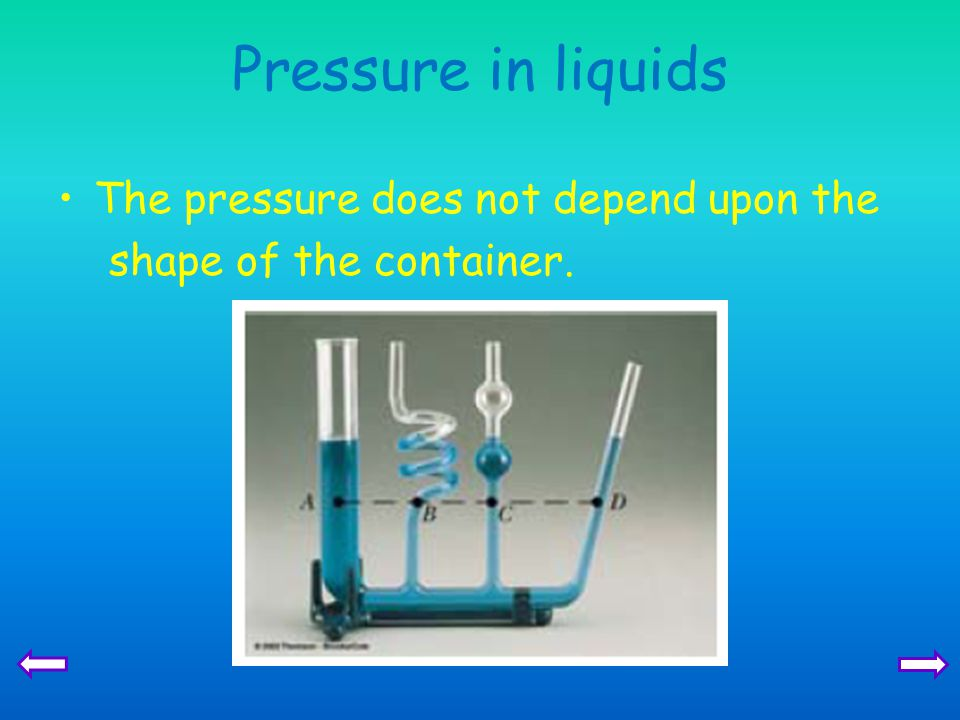 Pressure in liquids The pressure does not depend upon the