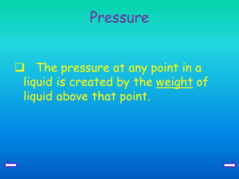 Pressure The pressure at any point in a liquid is created by the weight of liquid above that point.