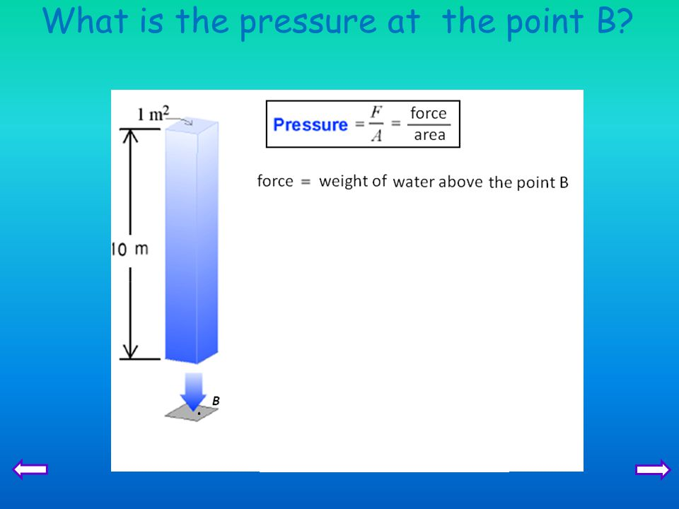 What is the pressure at the point B