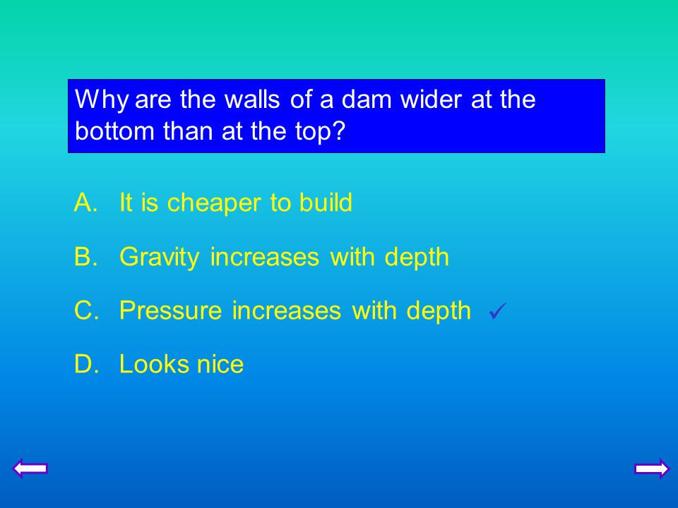Why are the walls of a dam wider at the bottom than at the top