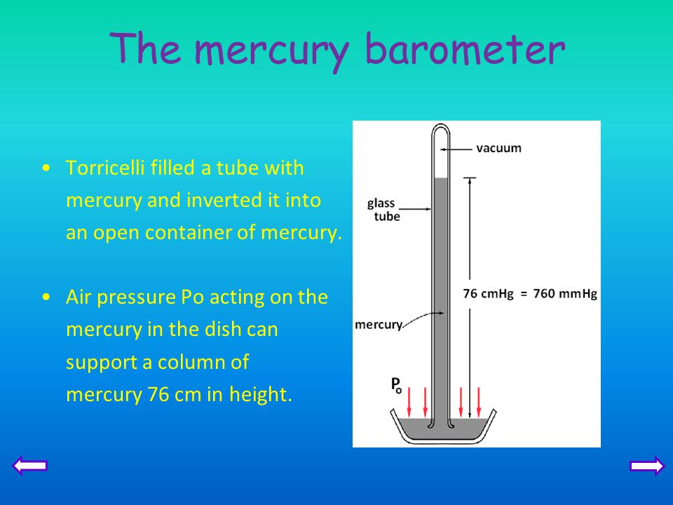 The mercury barometer Torricelli filled a tube with