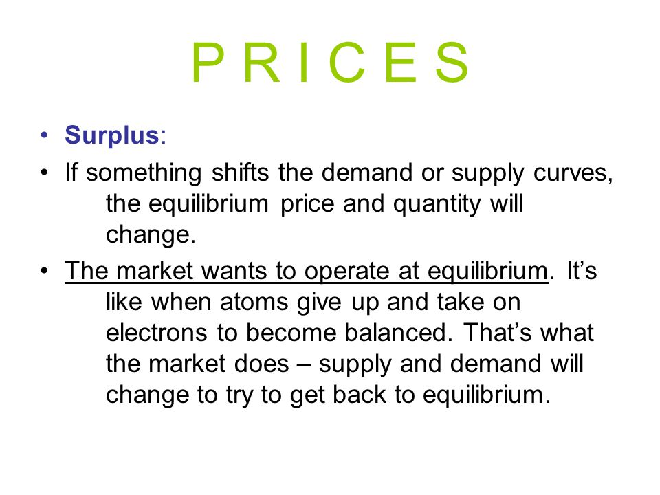 P R I C E S Surplus: If something shifts the demand or supply curves, the equilibrium price and quantity will change.