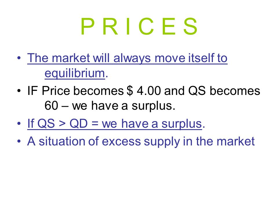 P R I C E S The market will always move itself to equilibrium.