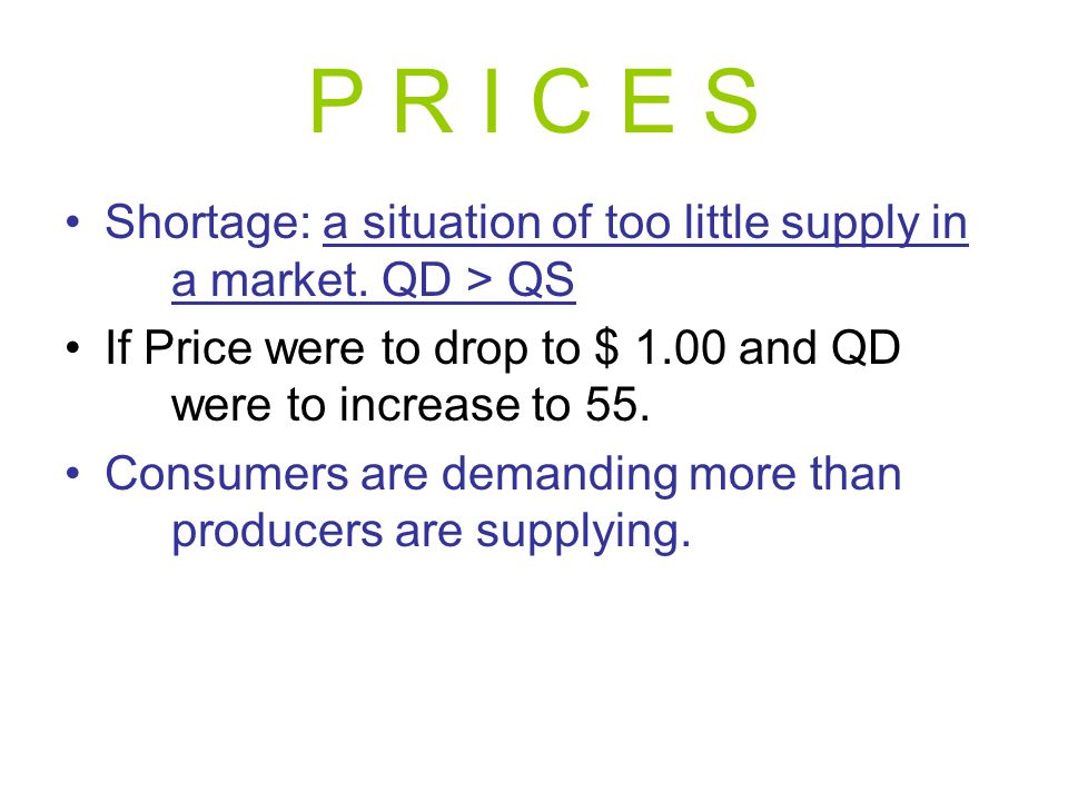 P R I C E S Shortage: a situation of too little supply in a market. QD > QS. If Price were to drop to $ 1.00 and QD were to increase to 55.