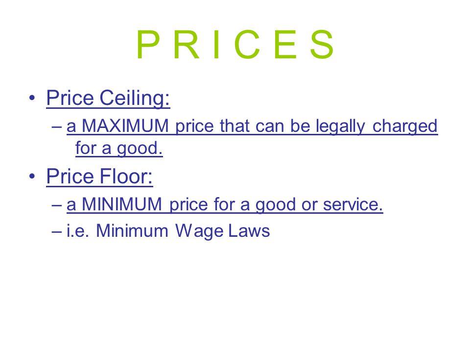 P R I C E S Price Ceiling: Price Floor:
