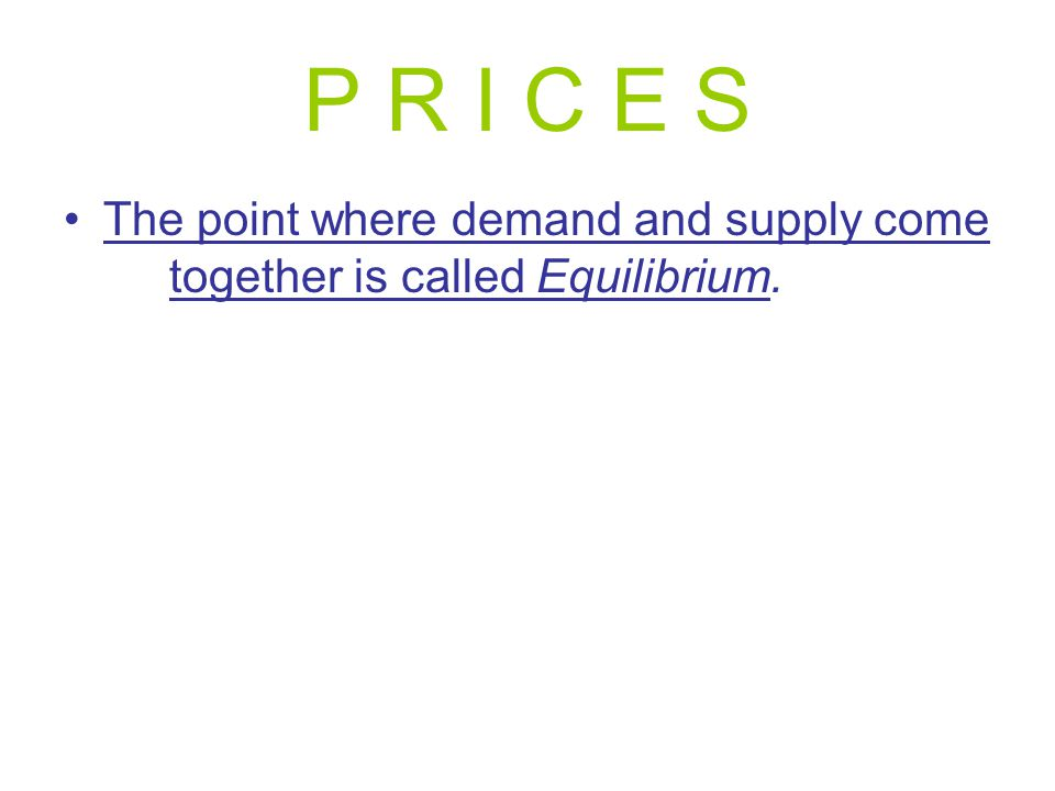 P R I C E S The point where demand and supply come together is called Equilibrium.