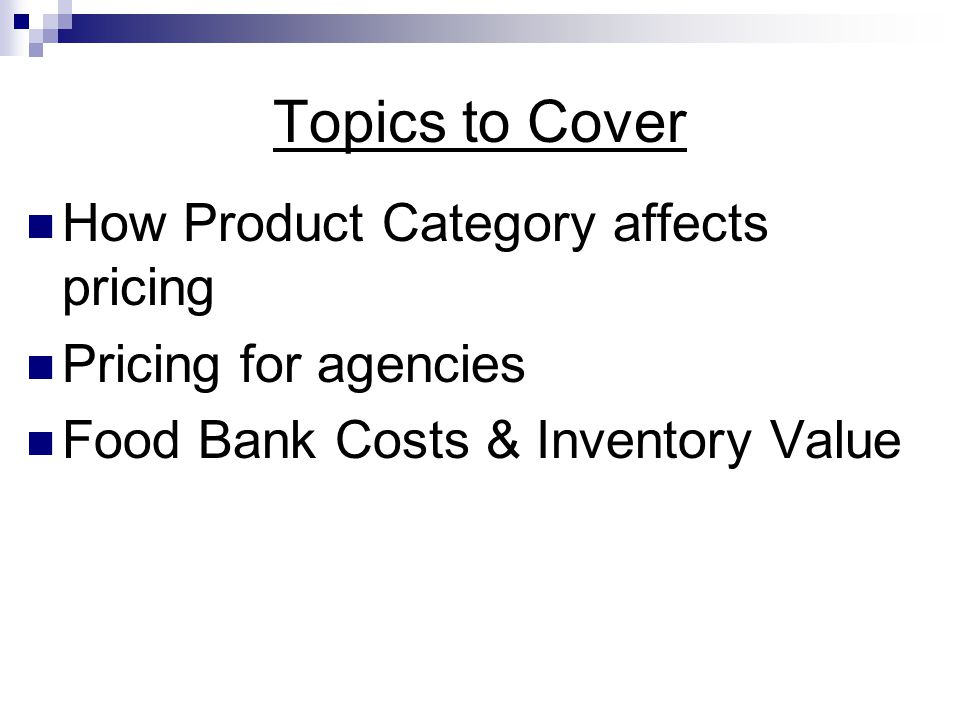 Topics to Cover How Product Category affects pricing