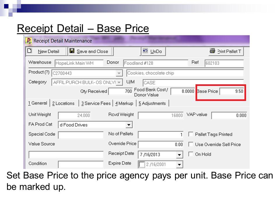 Receipt Detail – Base Price
