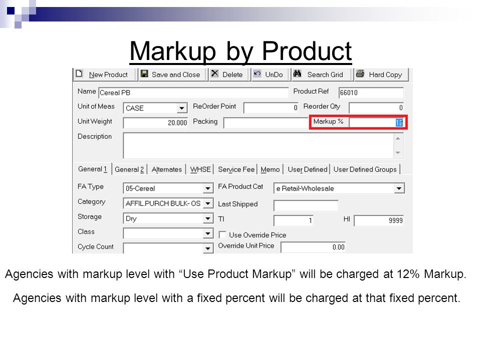 Markup by Product Agencies with markup level with Use Product Markup will be charged at 12% Markup.