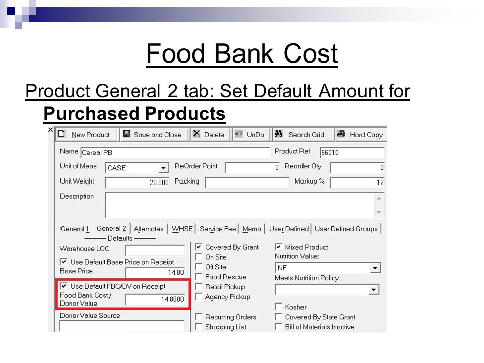 Food Bank Cost Product General 2 tab: Set Default Amount for Purchased Products