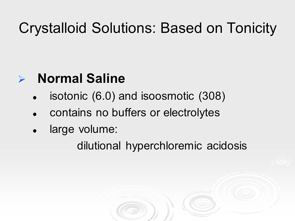 Crystalloid Solutions: Based on Tonicity