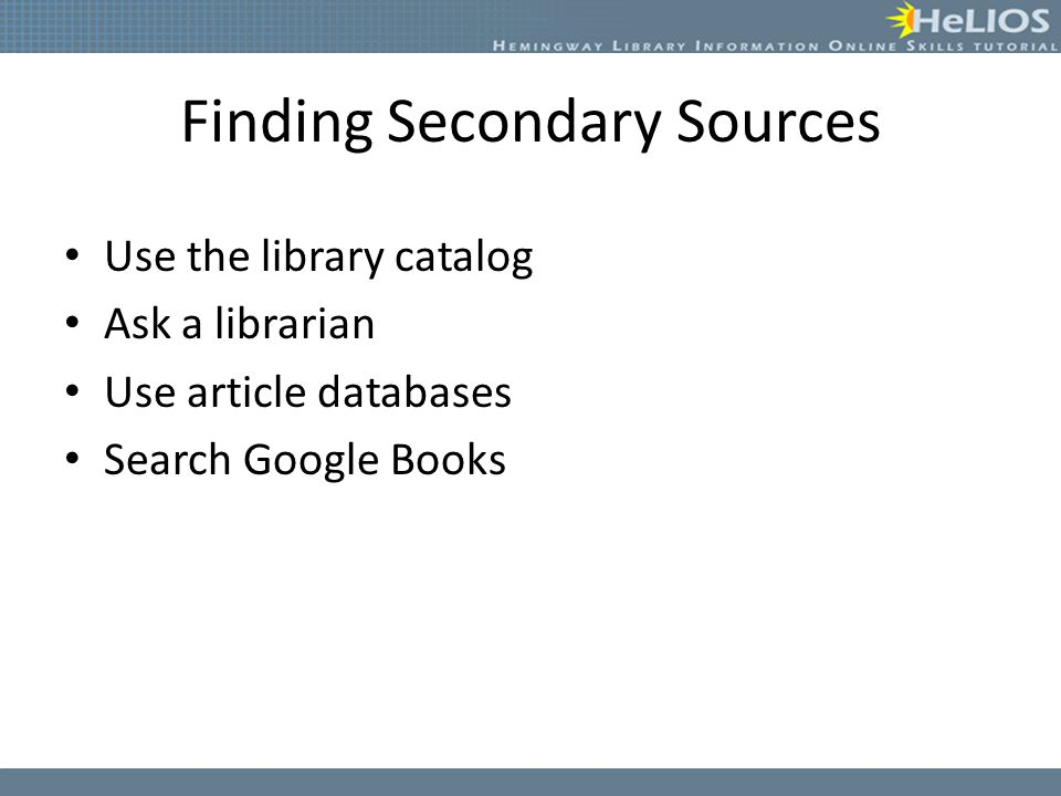 Finding Secondary Sources