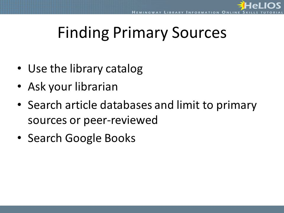 Finding Primary Sources